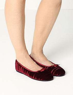Striped & Embossed Ballerina Slippers, RED, catlanding