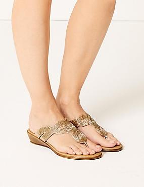 Bling Wedge Mule Sandals, GOLD, catlanding