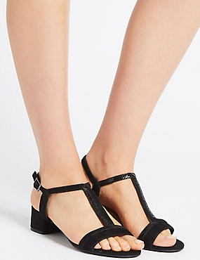 Leather Block Heel T-Bar Sandals, BLACK, catlanding
