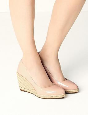 Leather Wedge Heel Almond Toe Espadrilles, NUDE, catlanding