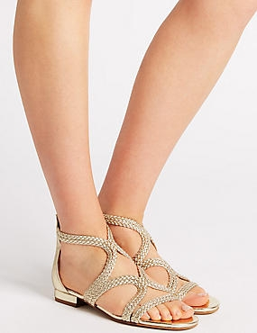 Weave Sandals, GOLD, catlanding