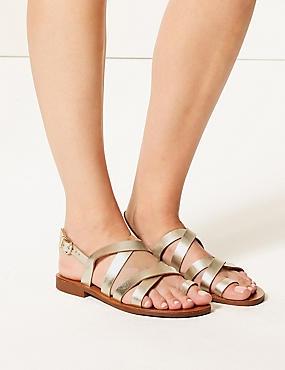 Buckle Strappy Loop Sandals  , GOLD, catlanding