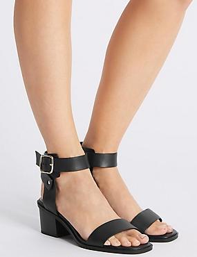 Wide Fit Leather Block Heel Sandals, BLACK, catlanding