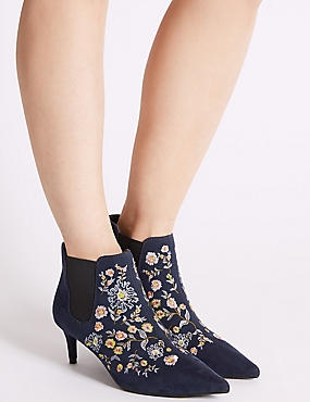 Kitten Heel Floral Embroidered Ankle Boots, NAVY MIX, catlanding