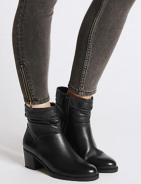 Wide Fit Leather Block Heel Ankle Boots, BLACK, catlanding