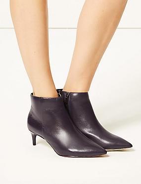 Wide Fit Leather Kitten Heel Ankle Boots, PURPLE, catlanding