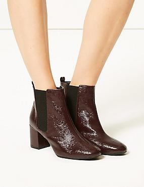 Wide Fit Leather Block Heel Ankle Boots, WINE, catlanding