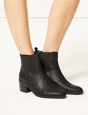 Leather Wide Fit Block Heel Ankle Boots, BLACK MIX, catlanding