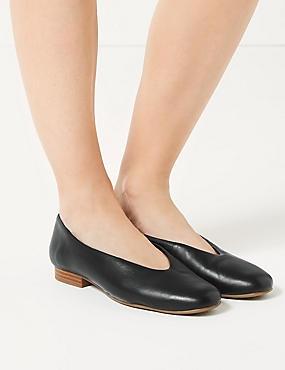 Leather High Cut Ballerina Pumps, BLACK, catlanding