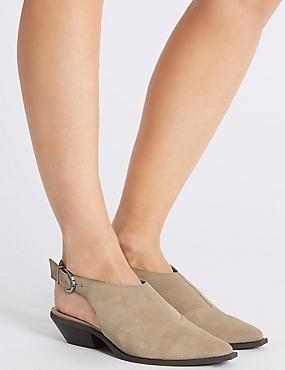 Suede Block Heel Slingback Shoes, SAND, catlanding