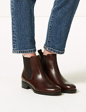 Leather Chelsea Ankle Boots  , CHOCOLATE, catlanding