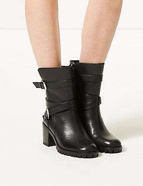 Leather Block Heel Double Strap Ankle Boots, BLACK, catlanding