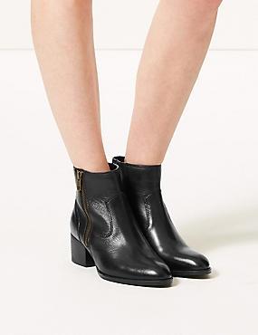Leather Block Heel Side Zip Ankle Boots , BLACK, catlanding