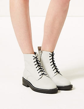 Lace-up Stitch Detail Ankle Boots  , WHITE, catlanding