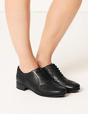 Leather Block Heel Brogue Shoes, BLACK, catlanding