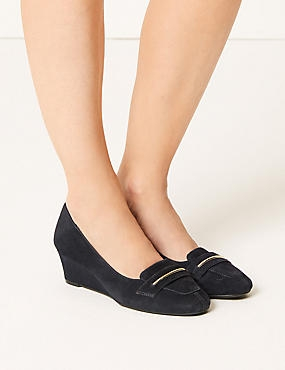 Wide Fit Suede Wedge Heel Court Shoes, NAVY, catlanding