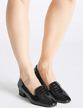 Wide Fit Leather Block Heel Pump Shoes, BLACK, catlanding