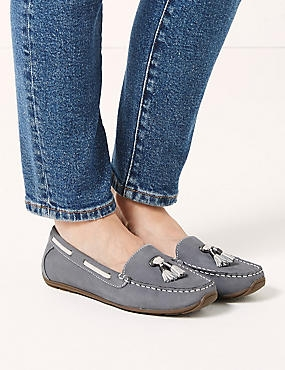 Wide Fit Leather Tassel Boat Shoes, PALE BLUE, catlanding