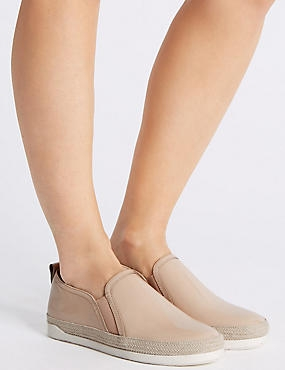 Wide Fit Leather Rope Detail Trainers, NUDE, catlanding