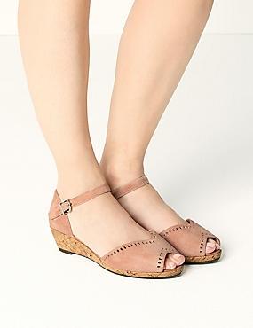 Suede Wide Fit 2 Part Wedge Sandals, PINK, catlanding