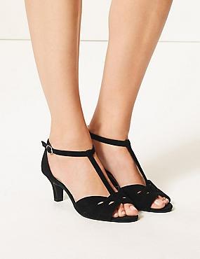Wide Fit Suede Kitten Heel Sandals, BLACK, catlanding