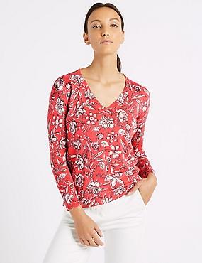 Floral Print V-Neck Long Sleeve jumper , RED MIX, catlanding