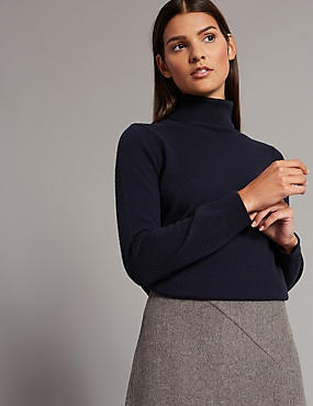 Pure Cashmere Roll Neck Jumper, NAVY, catlanding