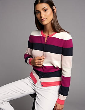 Pure Cashmere Colour Block Cardigan , PINK MIX, catlanding