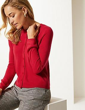 Long Sleeve Cardigan, RED, catlanding
