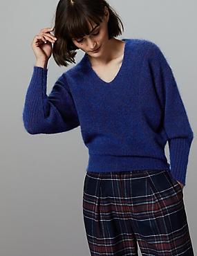 Wool Blend Textured V-Neck Jumper  , COBALT, catlanding