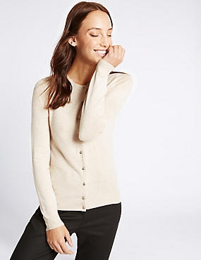 Ribbed Round Neck Cardigan, OATMEAL MIX, catlanding