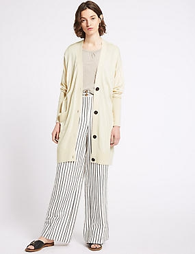 V-Neck Long Sleeve Longline Cardigan, CREAM, catlanding