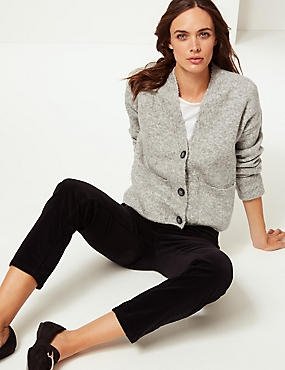 Button Through Cardigan with Cotton, GREY, catlanding