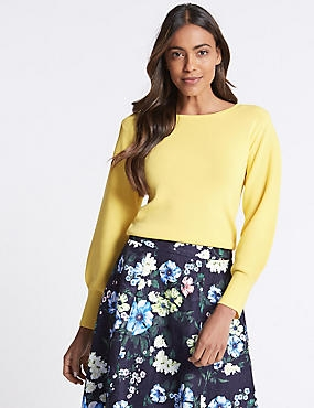 Balloon Sleeve Slash Neck Jumper, LEMON, catlanding
