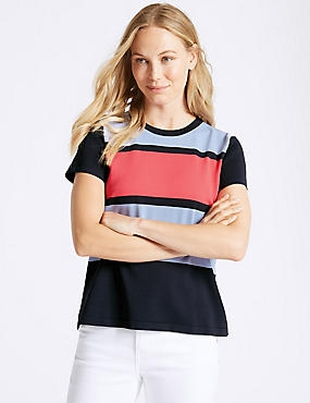 Colour Block Round Neck Short Sleeve Jumper, MULTI, catlanding
