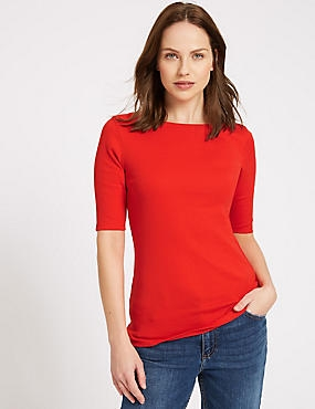 Pure Cotton Slash Neck Half Sleeve T-Shirt, RED, catlanding