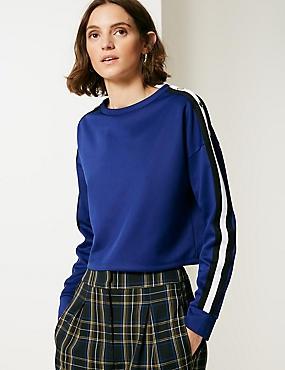 Tipped Round Neck Long Sleeve Sweatshirt, COBALT, catlanding