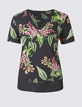 Floral Print V-Neck Short Sleeve T-Shirt , NAVY MIX, catlanding