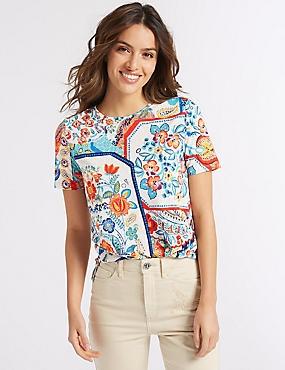 Printed Round Neck Short Sleeve T-Shirt , BLUE MIX, catlanding