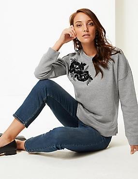Cotton Rich Embroidered Sweatshirt , GREY MIX, catlanding
