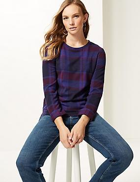 Checked Round Neck Long Sleeve Sweatshirt, NAVY MIX, catlanding