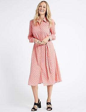Printed Longline Shirt Midi Dress , RUST MIX, catlanding