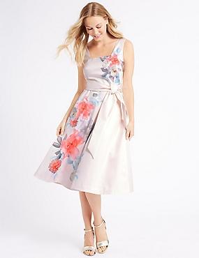 Floral Print Skater Midi Dress , PINK MIX, catlanding