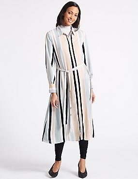 Striped Longline Shirt Midi Dress , PINK MIX, catlanding