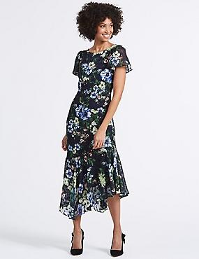 Floral Print Asymmetric Tunic Midi Dress, NAVY MIX, catlanding