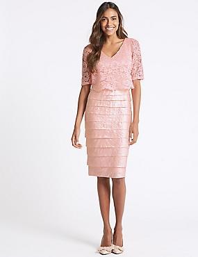 Lace Shutter Pleated Shift Midi Dress, BLUSH, catlanding