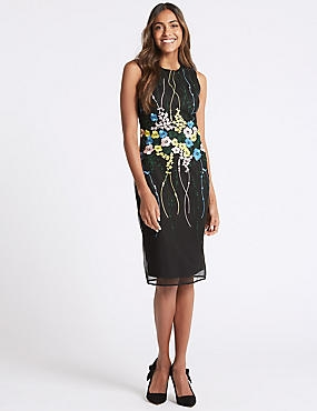 Floral Embroidered Bodycon Dress, BLACK MIX, catlanding