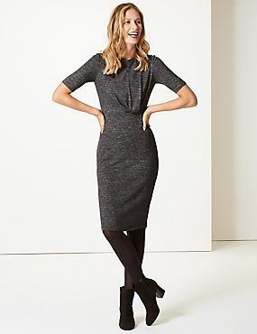 Textured Half Sleeve Bodycon Midi Dress , GREY, catlanding