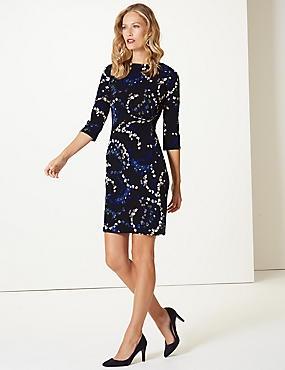 Printed 3/4 Sleeve Shift Dress , BLUE MIX, catlanding