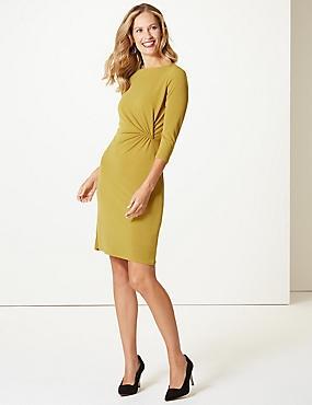 Twisted Drape 3/4 Sleeve Shift Dress , WINTER LIME, catlanding